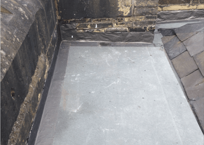 Roof Restoration, rotten timbers replaced, boarded and sealed with lead subsitute
